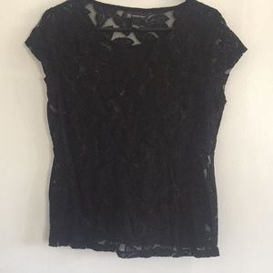INC BLACK LACE TOP SIZE L cap Sleeves Very Cute!